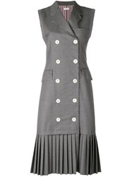 Thom Browne Pleated Wool Chesterfield Dress Grey