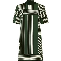 River Island Womens Green Geometric Stripe T Shirt Dress