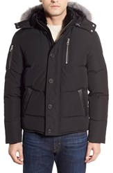 Point Zero Men's M. Benisti Water Resistant Down Jacket With Genuine Silver Fox Fur And Rabbit Fur Trim Black Silver Fox