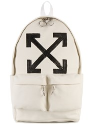Off White Brushed Printed Backpack Men Cotton Polyester One Size White
