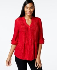 Styleandco. Style And Co. Petite Pintucked Button Front Lace Blouse Only At Macy's