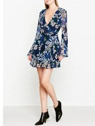 Keepsake Botanical Floral Print Long Sleeve Dress Navy