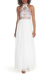 Blondie Nites Embroidered Halter Gown Ivory Multi
