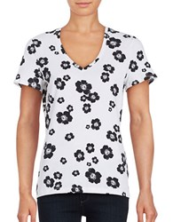 Lord And Taylor Petite Wild Flowers T Shirt White