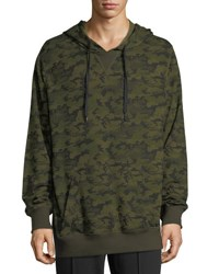 2Xist Hooded Pullover Sweatshirt Green Pattern