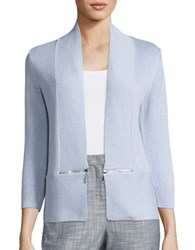 Ivanka Trump Open Knit Cardigan Heather Fog