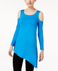 Cable And Gauge Asymmetrical Cold Shoulder Top French Blue