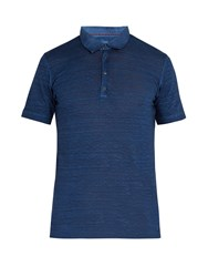 120 Lino Linen Jersey Polo Shirt Dark Blue