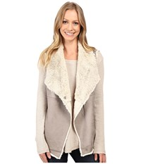 Dylan By True Grit Madison City Faux Sueded Shearling Snap Vest Vintage Grey Natural Women's Vest Gray