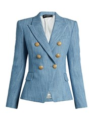 Balmain Double Breasted Cotton Blend Tweed Blazer Light Blue