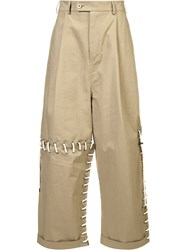 Craig Green Laced Wide Leg Trousers Nude Neutrals