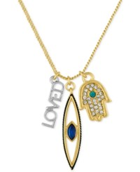 Rachel Roy Two Tone Pave Charm Necklace Gold