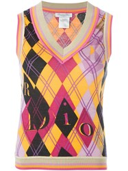 Christian Dior Vintage Argyle Print Knit Top Multicolour