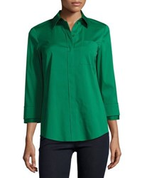 Lafayette 148 New York Emerson 3 4 Sleeve Blouse Coral