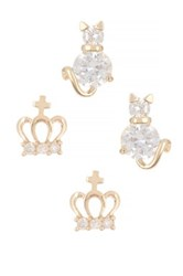 Betsey Johnson Cat Crown Duo Stud Earrings Beige