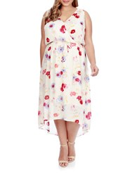 Lucky Brand Plus Floral Printed High Low Dress White