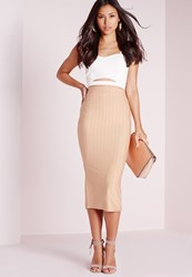 Missguided Ribbed Bodycon Longline Skirt Nude Beige