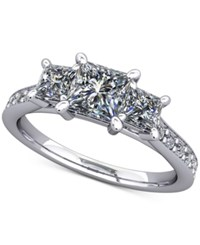 Macy's Diamond Ring Mount 1 2 Ct. T.W. With Channel Set Accents In 14K White Gold .5 Princess