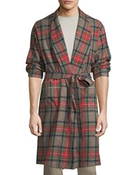 Fear Of God Open Front Plaid Wool Robe Brown
