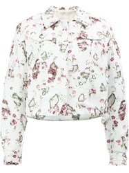 Giambattista Valli Distressed Floral Jacket White