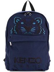 Kenzo Tiger Backpack Nylon Polyester Blue