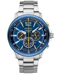 Seiko Men's Solar Chronograph Jimmie Johnson Special Edition Stainless Steel Bracelet Watch And Interchangeable Strap 45Mm Ssc505 Silver Tone