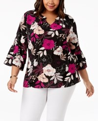 Ny Collection Plus Size Printed Ruffle Sleeve Blouse Jet Vasebloom