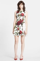 Dolcegabbana Rose Print Brocade A Line Dress White Red