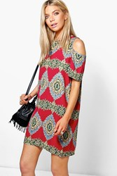 Boohoo Paisley Print Cold Shoulder Shift Dress Burgundy