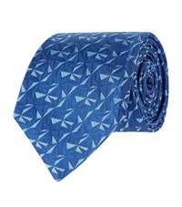 Turnbull And Asser Geometric Triangles Silk Tie Unisex Blue