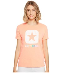 Converse Embroidered Box Star Easy Crew Tee Light Orange Women's T Shirt