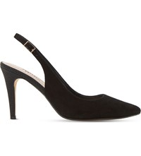 Dune Cathy Suede Slingback Court Shoes Black Suede