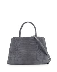Nancy Gonzalez Crocodile Large Center Zip Tote Bag Light Gray