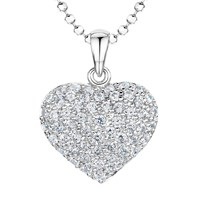 Jools By Jenny Brown Rhodium Plated Silver Cubic Zirconia Bubbly Heart Pendant