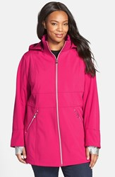 Plus Size Women's Betsey Johnson Soft Shell Jacket With Detachable Hood Pink Tourmaline