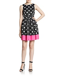Saks Fifth Avenue Red Polka Dot Fit And Flare Dress Multi