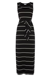 Warehouse Stripe Tie Front Maxi Dress Black