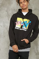 Forever 21 Mtv Logo Graphic Hoodie Black Yellow