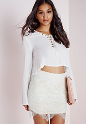 Missguided Lace Mini Skirt Mint Green