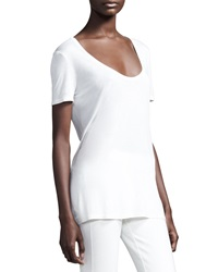The Row Scoop Neck Jersey Tee White Small