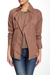 Michael Stars Tencel Long Sleeve Trench Brown
