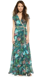 Twelfth St. By Cynthia Vincent Wrap Maxi Dress Tropical Floral