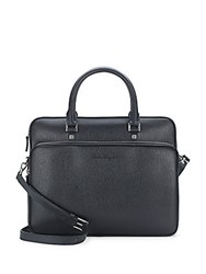 Salvatore Ferragamo Top Zip Leather Briefcase Black