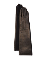 Portolano Long Leather And Cashmere Blend Tech Gloves Black Blac
