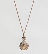 Glamorous Coin Pendant Necklace Gold