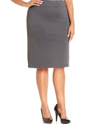 Style And Co. Plus Size Ponte Knit Pencil Skirt Only At Macy's Deep Grey