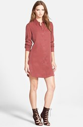 Women's Wayf Button Front Shirtdress Oxblood