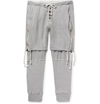Greg Lauren Tapered Zip Detailed Loopback Cotton Jersey Sweatpants Gray