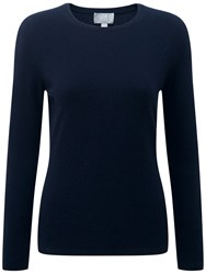Pure Collection Crew Neck Cashmere Jumper Navy