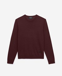 The Kooples Burgundy Slim Fit Wool And Cashmere Sweater